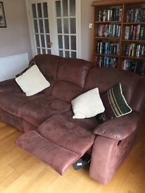 Soft leather three seater recliner sofa