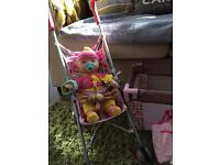 Toy Baby Doll Cot & Pushchair set