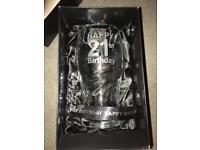 Happy 21st birthday glass