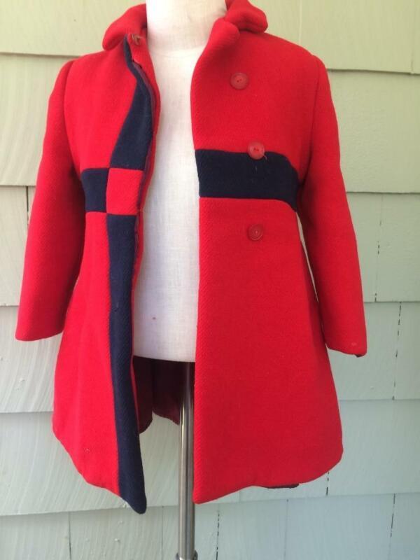 Vtg mod little girls navy red Saks wool dress coat - 4-5 year old