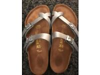 Silver leather Birkenstocks