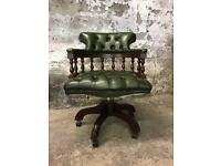 Perfect Condition Green Leather Chesterfield Office Swivel Chair