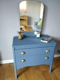 Dark blue/ grey mid century chest of drawers / Dressing Table / dresser with mirror Upcycled Painted
