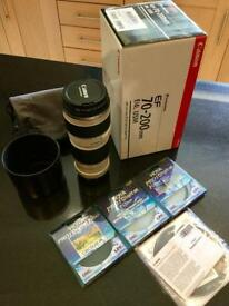 Canon EF 70-200mm f/4L series USM - Like new, all original packaging plus 3 Hoya Pro1 filters