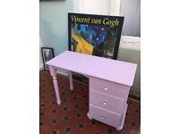 Lovely dressing table , painted in soft chalk pink and waxed for protection
