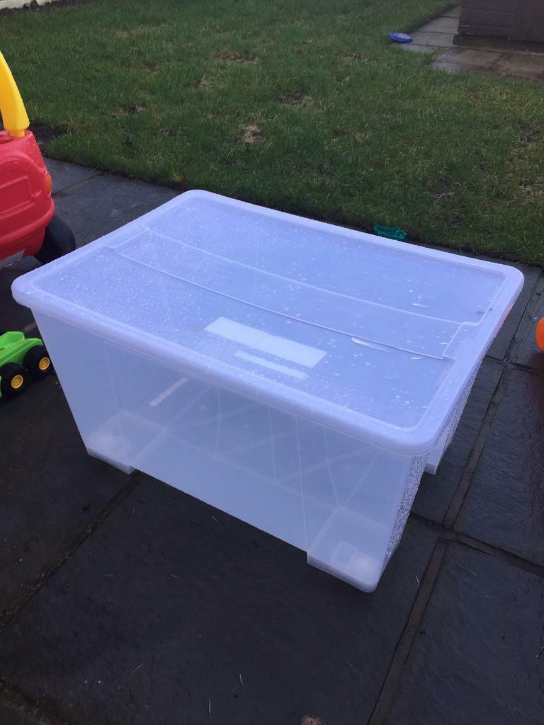 ikea 130l storage plastic box with lid in sale manchester gumtree. Black Bedroom Furniture Sets. Home Design Ideas