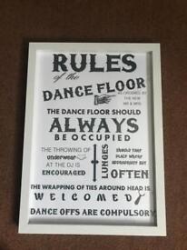 Wedding, A3 frames dancefloor rules