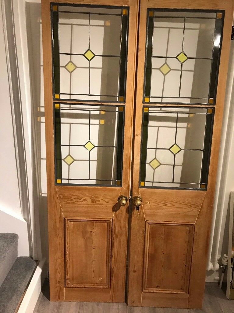 Victorian Stained Glass Double Doors In Warwick Warwickshire
