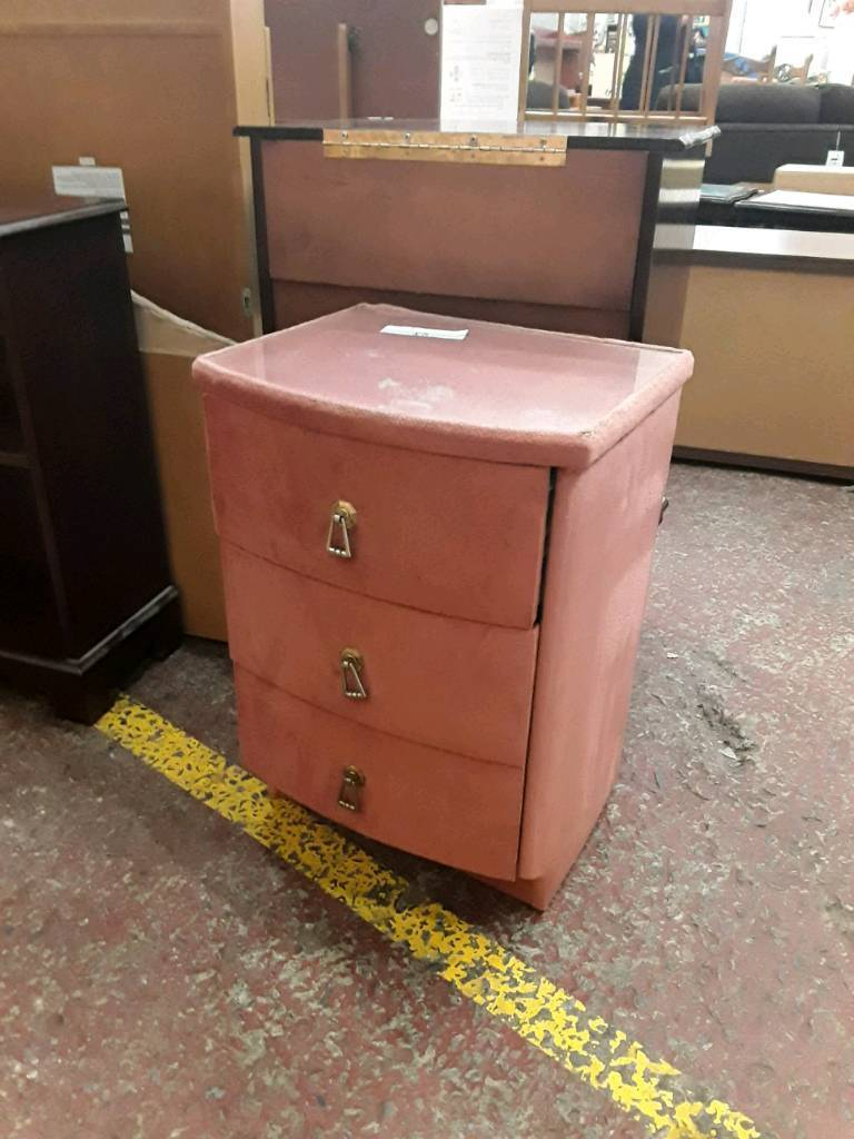 Salmon Pink Fabric Bedside Set of Drawers