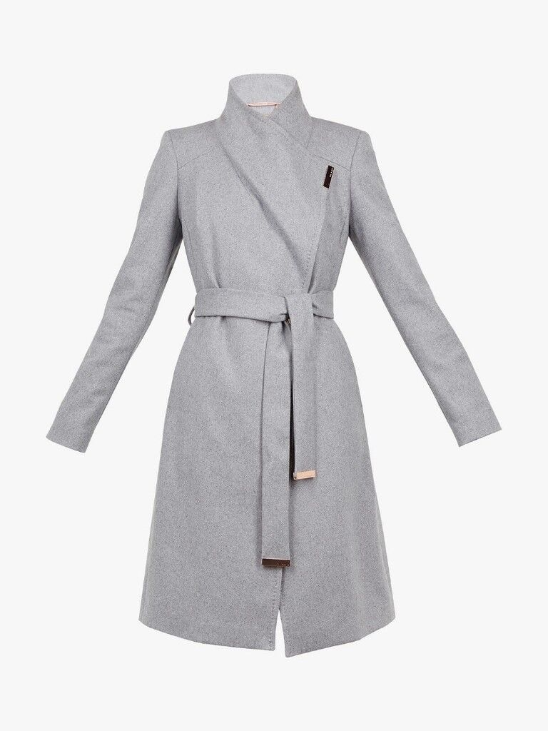 c82d7e967 Ted Baker CASHMERE BLEND SANDRA Midi wool wrap coat GREY Size 0 (UK 6) £250