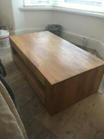 Coffee table/ tv unit solid oak