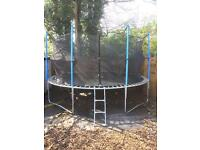 Used FoxHunter 14ft Adult/Kids Trampoline with Ladder, Net Enclosure & Safety Padding