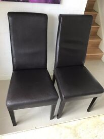 LEATHER BROWN CHAIR (6) CLEAN, IN GOOD CONDITION,NO ANY MARK, £18 EACH.