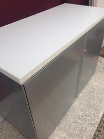 Desk high executive white storage cabinet