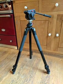 Manfrotto Tripod head, legs and carry case.
