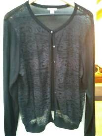 H&M ladies thin Black cardy with lace front