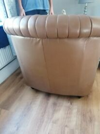 2x dfs brown leather tub chairs
