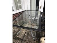Outdoor glass dining table 6 chairs & cushions