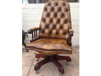 Antique Brown Leather Chesterfield Captains - Directors - Office chair L👁👁K ?