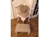 Shabby chic corner chair and footstool