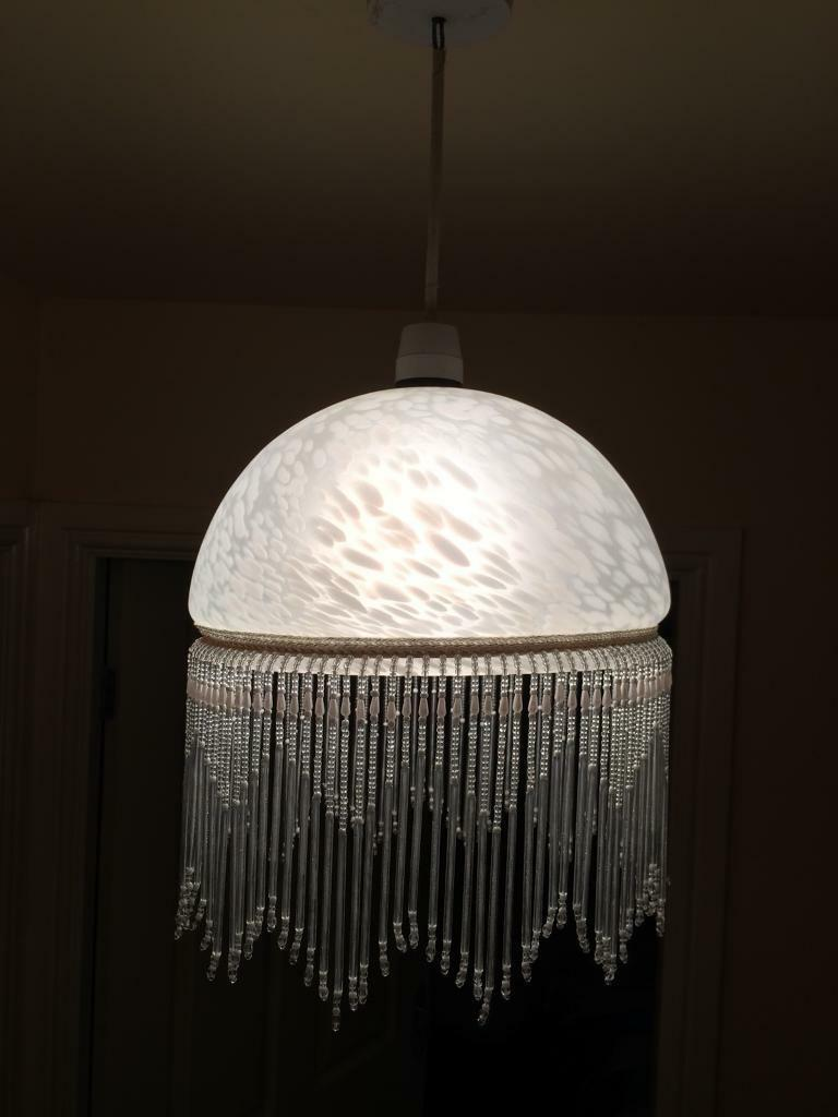 Art Deco mottled glass lamp shade