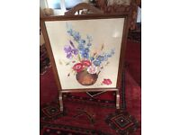 Fire screen old with embroidered flower design