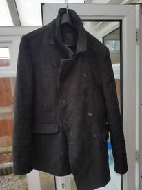 All Saints Coat Mens Charcoal Grey