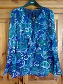 MARKS & SPENCER TWIGGY PAISLEY PRINT BLUE MIX RUFFLE TOP SIZE 12, £39.50, BNWT