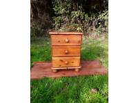 Pine 3 drawer bedside cupboard