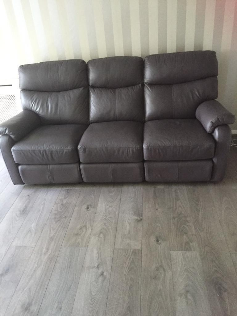 3 Seater Leather Sofa Manual Recliner From Dansk Need Gone