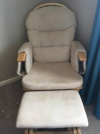 Baby feeding rocking chair and foot sto