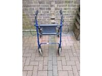 4 Wheel Rollator / walking frame with brakes and seat
