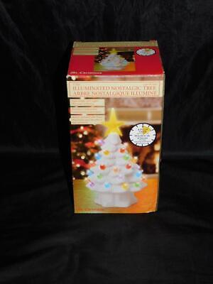 """Mr Christmas White Ceramic Light Up Christmas Tree 7"""" LED Illuminated Porcelain"""