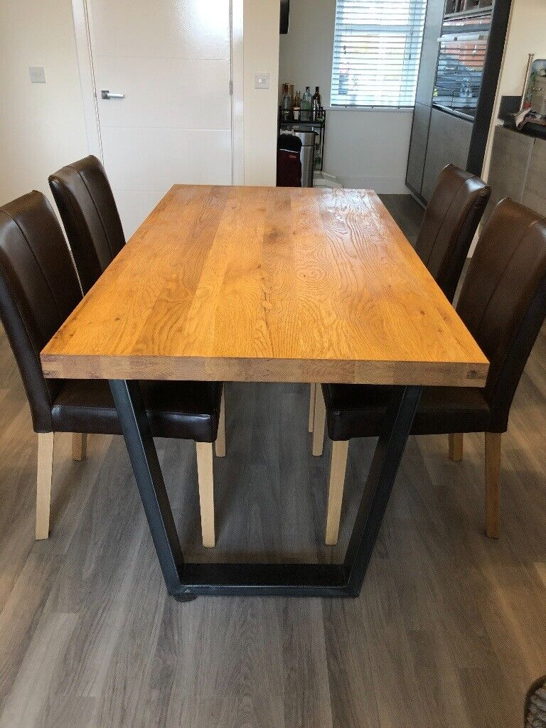 John Lewis Calia 6 Seater Dining Table Oak And 4 Brown Distressed Leather Chairs In Biton Renfrewshire Gumtree