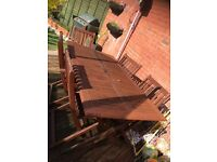 Teak dining table and 5 chairs