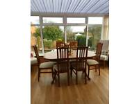 Teak dining table and 6 chairs