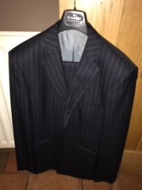 Savile row men's navy pinstripe suit with 2 additional pairs of trousers