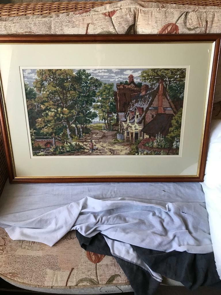 Large Framed cross stitch picture