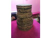 Gorgeous leopard print material round set of 3 storage hat boxes