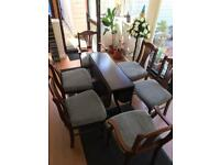 Vintage Mahogany Large Folding Dining Table and 6 Original Chairs