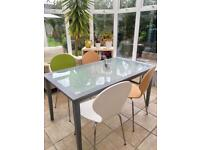 Grey wooden/glass dining table with chairs