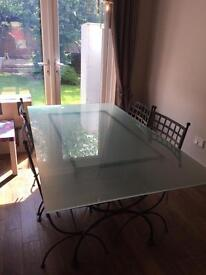 Wrought Iron dining table with glass top & chairs