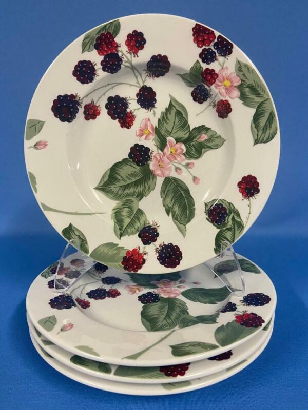 Set of 4 Tienshan Raspberry Social Salad Plates - Berries Flowers Leaves Exc