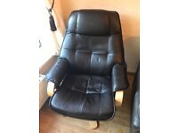 Brown leather swivel chair - bargain