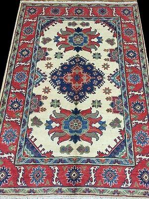 Lowest Price Area Rugs Handmade Rug 4 x 6 Kazak Hard-Wearing Easy Clean