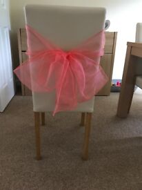 Wedding chair sashes coral & turquoise