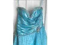 Prom dress bridesmaid elsa blue tiffanys size 12 sparkly