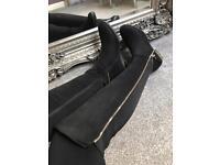 BNIB black suede zip detail knee high boots sizes 3-8