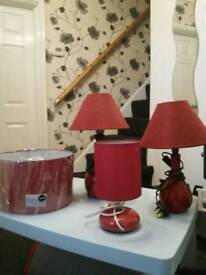 Red lamps and shade
