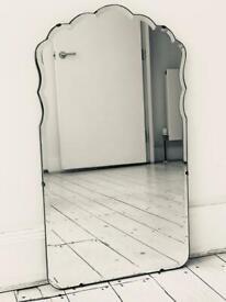 Large scalloped vintage antique frameless bevelled mirror Art Deco mid century